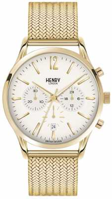 Henry London Mens Westminster Gold PVD Plated Mesh HL41-CM-0020