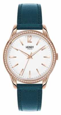 Henry London Womens Stratford Green Strap White Dial HL39-SS-0138