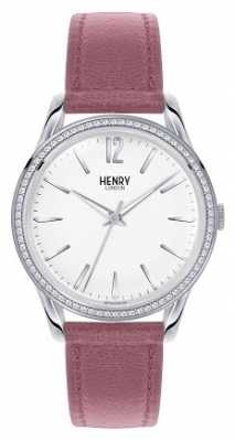 Henry London Womens Hammersmith Pink Leather White Dial HL39-SS-0063