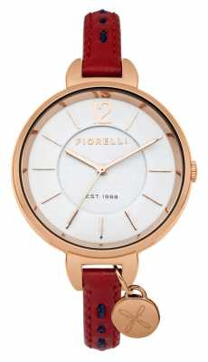 Fiorelli Womens Red Leather Strap Silver Dial FO004RRG