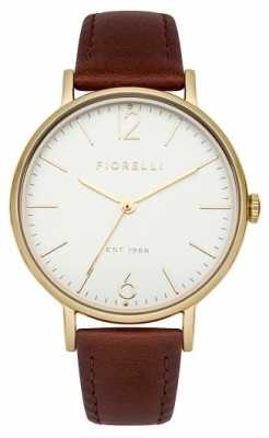Fiorelli Womens Brown Leather Strap White Dial FO005TG