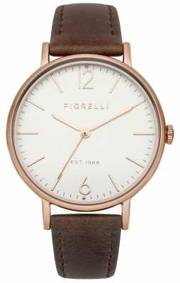 Fiorelli Womens Brown Leather Strap White Dial FO005TRG