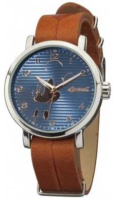 Disney By Ingersoll Mens Classic Mickey Mouse Brown Leather Strap DIN007SLBR