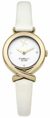 Fiorelli Womens White Leather Strap Silver Dial FO009WG