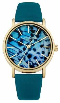 Daisy Dixon Womens Teal Leather Strap Butterfly Dial DD021NG