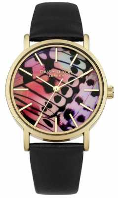 Daisy Dixon Womens Black Leather Strap Butterfly Dial DD021BG