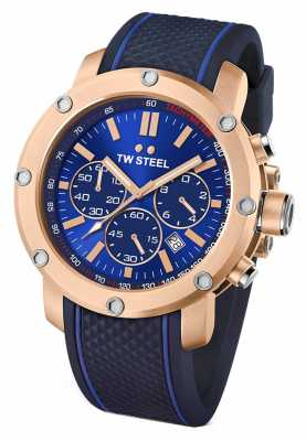 TW Steel Mens Grandeur Tech Blue Rubber Strap TS3