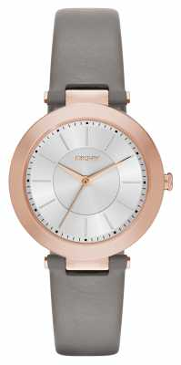 DKNY Womens Stanhope Grey Leather Silver Dial NY2296