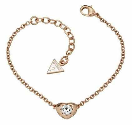 Guess Womens Crystals Of Love Rose Gold PVD Bracelet UBB51415