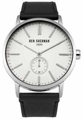 Ben Sherman Mens Black Leather Strap White Dial WB032S