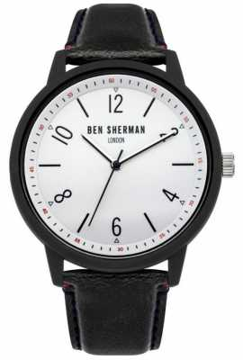 Ben Sherman Mens Black Leather Strap White Dial WB050BWB