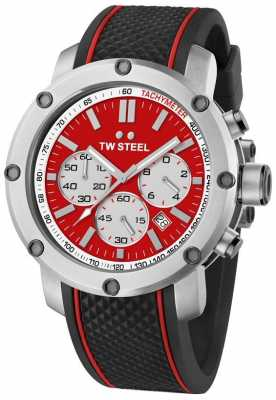 TW Steel Mens Grandeur Tech Black Rubber Strap Red TS1