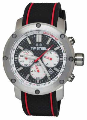 TW Steel Mens Grandeur Tech Black Rubber Strap TS2