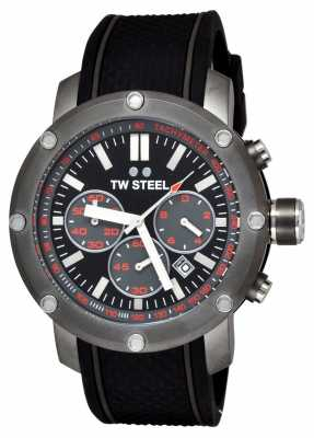 TW Steel Mens Grandeur Tech Black Rubber Strap TS4