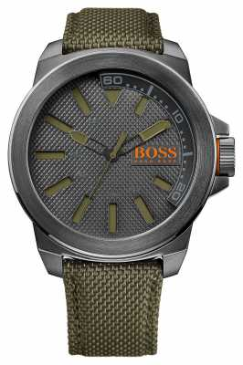 Hugo Boss Orange Mens Green Fabric Strap Grey Dial 1513009