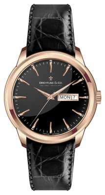 Dreyfuss Mens Black Leather Strap Black Dial DGS00129/04