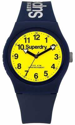 Superdry Unisex Urban Blue Rubber Strap Yellow Dial SYG164UY