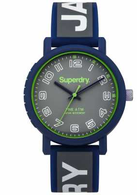 Superdry Mens Campus Blue And Grey Rubber Strap SYG196E