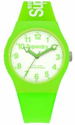 Superdry Unisex Urban Green Rubber Strap White Dial SYG164NW