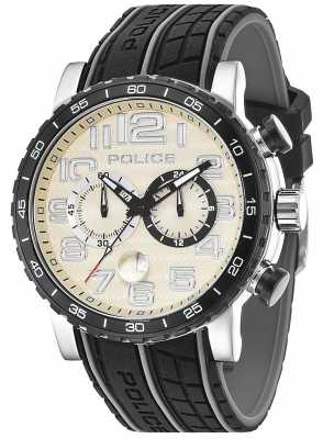 Police Mens Powerslide Black Rubber Strap Cream Dial 14443JSTB/13P