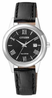 Citizen Womens Eco-Drive Leather Strap Black Dial FE1081-08E