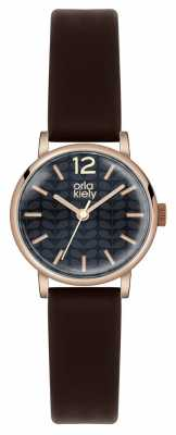 Orla Kiely Frankie Black Leather Strap Black Dial OK2014