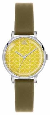 Orla Kiely Patricia Olive Leather Strap Yellow Dial OK2029