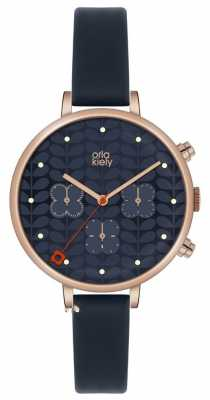 Orla Kiely Ivy Chronograph Blue Leather Strap OK2042
