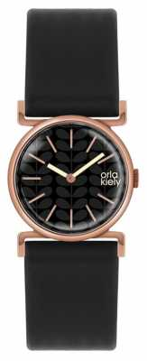 Orla Kiely Cecelia Black Leather Strap Black Dial OK2048