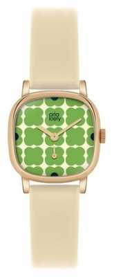 Orla Kiely Iris Cream Leather Strap OK2052