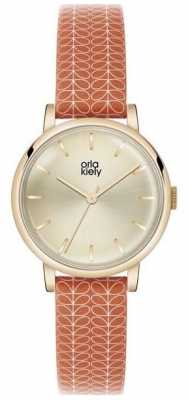Orla Kiely Patricia Orange Leather Strap OK2068