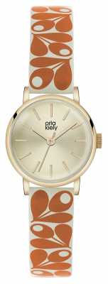 Orla Kiely Patricia Orange Print Leather Strap OK2078