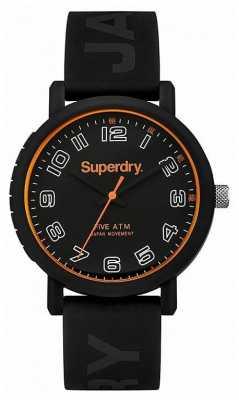 Superdry Mens Black Silicone Strap Black Dial SYG196B