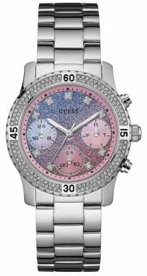 Guess Womens Confetti Stainless Steel Glitter Dial W0774L1