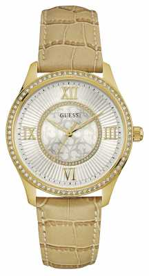 Guess Womens Broadway Leather Strap Silver Dial W0768L2