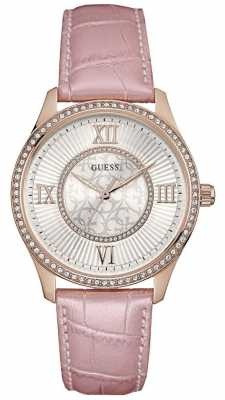 Guess Womens Broadway Leather Strap Silver Dial W0768L3