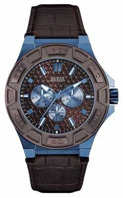 Guess Mens Force Black Leather Strap W0674G5