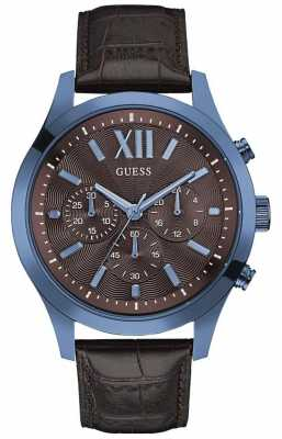 Guess Mens Elevation Black Leather Strap W0789G2