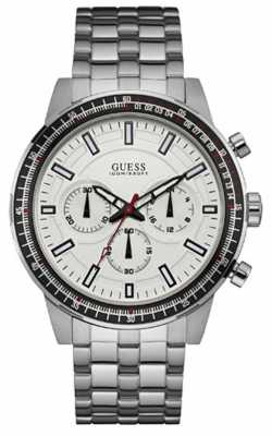 Guess Mens Fuel Stainless Steel White Dial W0801G1