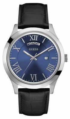 Guess Mens Metropolitan Black Leather Strap W0792G1