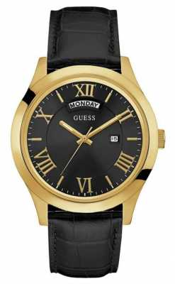 Guess Mens Metropolitan Black Leather Strap W0792G4