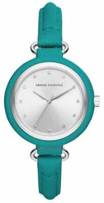 Armani Exchange Ladies Urban Green Leather Strap AX4234