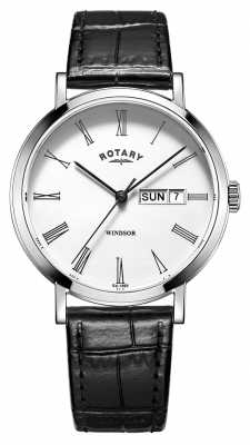 Rotary Mens Black Leather Strap White Dial GS05300/01