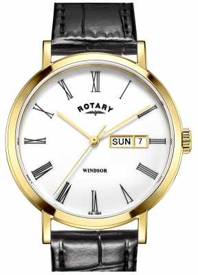 Rotary Mens Black Leather Strap Gold Plated Case GS05303/01