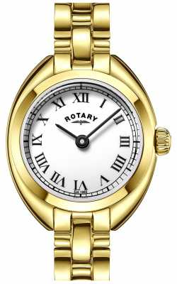 Rotary Womens Thin Gold Plated Strap White Dial LB05015/01