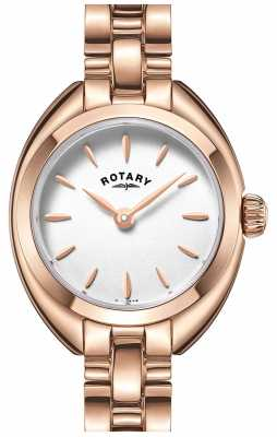Rotary Womens Thin Rose Gold Plated Strap White Dial LB05016/02