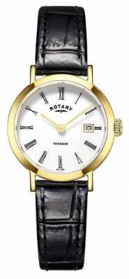Rotary Womens Black Leather Strap Round White Dial LS05303/01