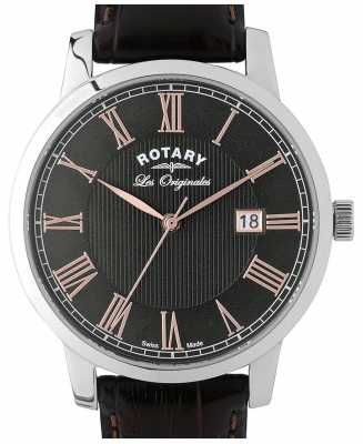 Rotary Mens Black Leather Strap Round Black Dial GS90075/04