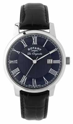 Rotary Mens Black Leather Strap Navy Dial GS90075/05