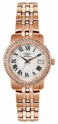 Rotary Womens Rose Gold Plated White Dial LB90093/41